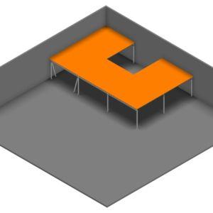 Entresolvloer 15.750 x 10.200 mm - 350 kg - 134 m2 - U-vorm