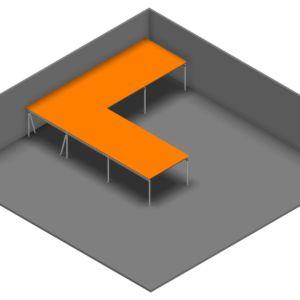 Entresolvloer 15.750 x 15.300 mm - 350 kg - 134 m2 - L-vorm