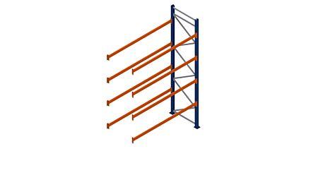 Palletstelling aanbouwsectie 4000x2700x1100 met 4 liggerparen liggerbelasting 2580 kilogram maximaal