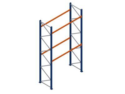 Palletstelling met  2 liggerparen, maximaal 2508 kg per liggerpaar. 5 meter hoog