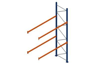 Palletstelling 4500 x 2700 x 1100 mm aanbouwsectie met 2 liggerparen
