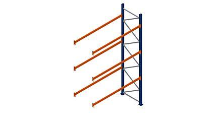 Aanbouwpalletstelling van Esnova 4500 x 2700 x 1100 mm - 2580 kg per ligger met 3 liggerniveaus